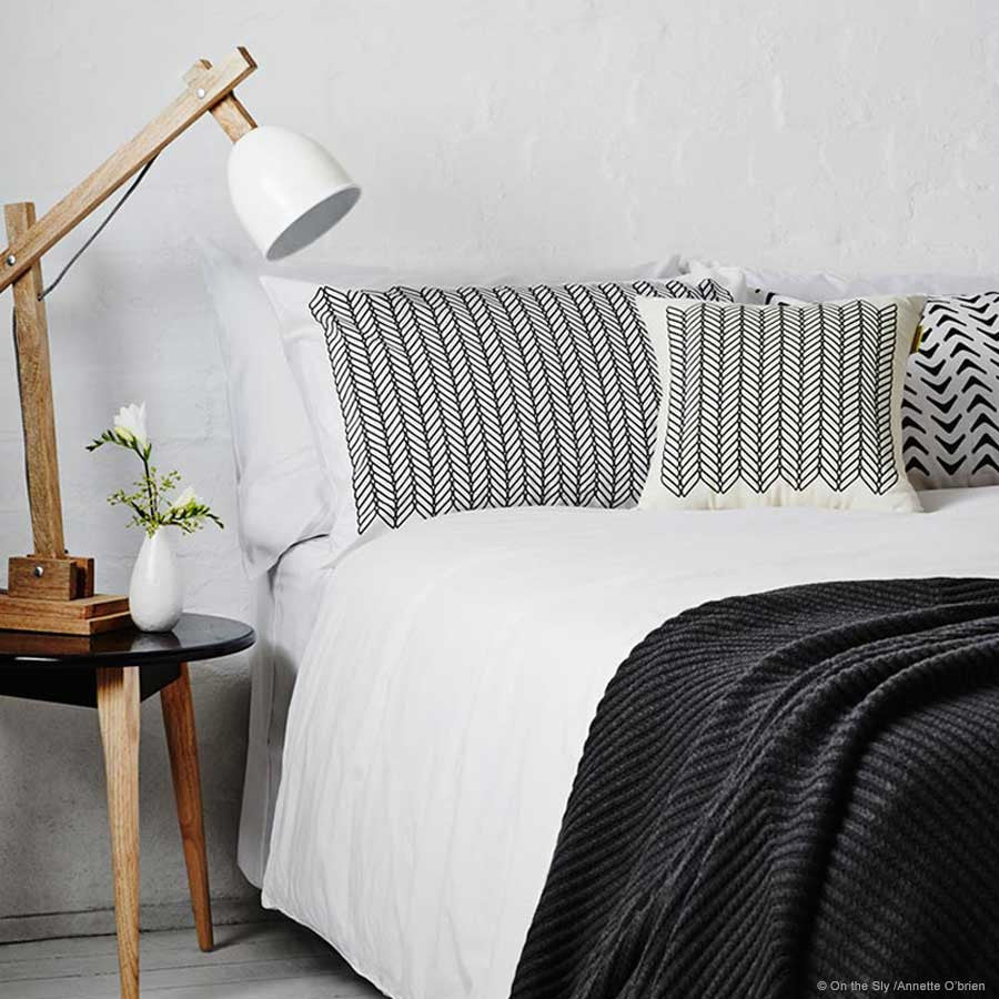 Cable Pattern Pillowcases Black (pair)