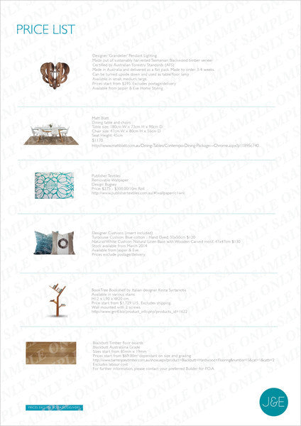 interior decoration services online pricelist example only