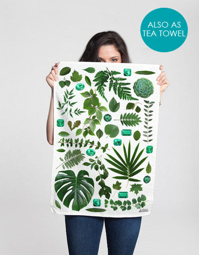 tea towel with natural leaf pattern for a quirky kitchen