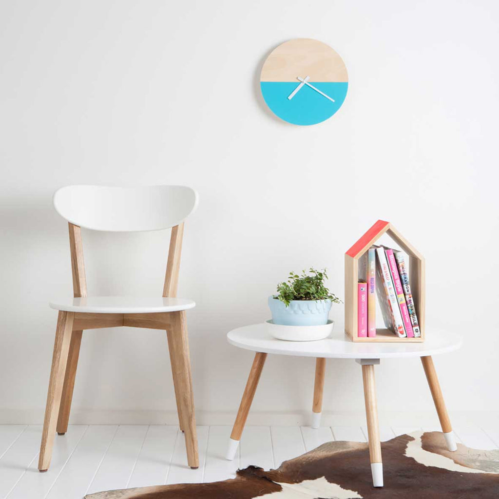 Wall Clock - Blue and Timber