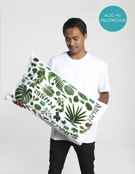 Cotton Pillowcase in green and white tropical pattern