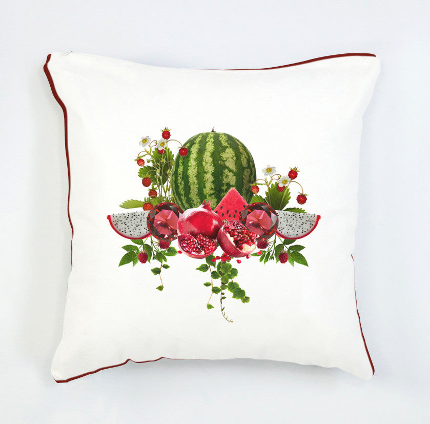 Ruby fruit pattern cushion-red and white