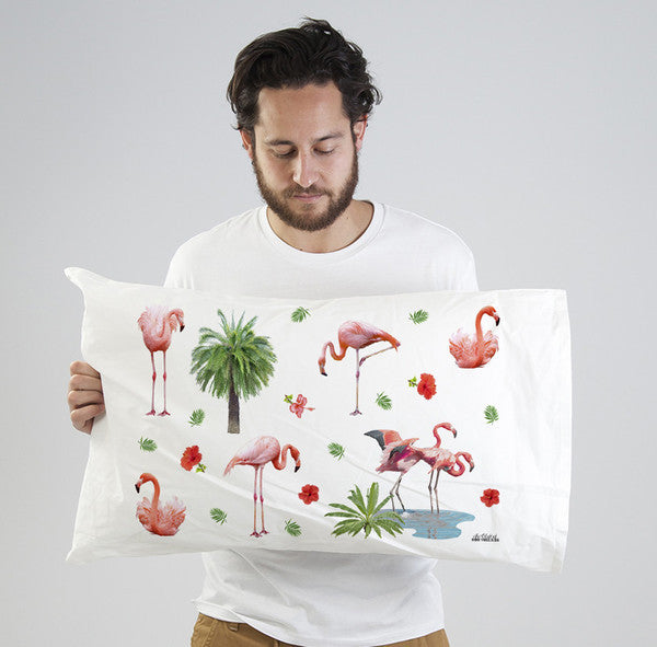 Flamingo pattern on pillowcase