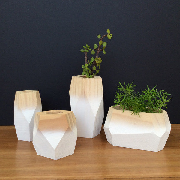 White table decoration in timber