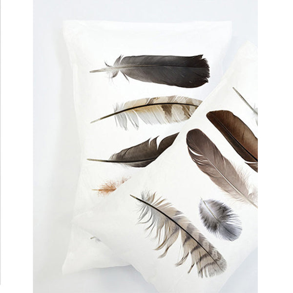 Winter feather pillow case
