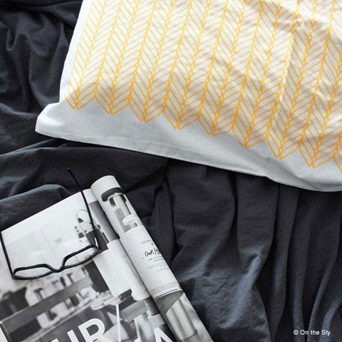 pillow case with yellow pattern | Image is copywright protected