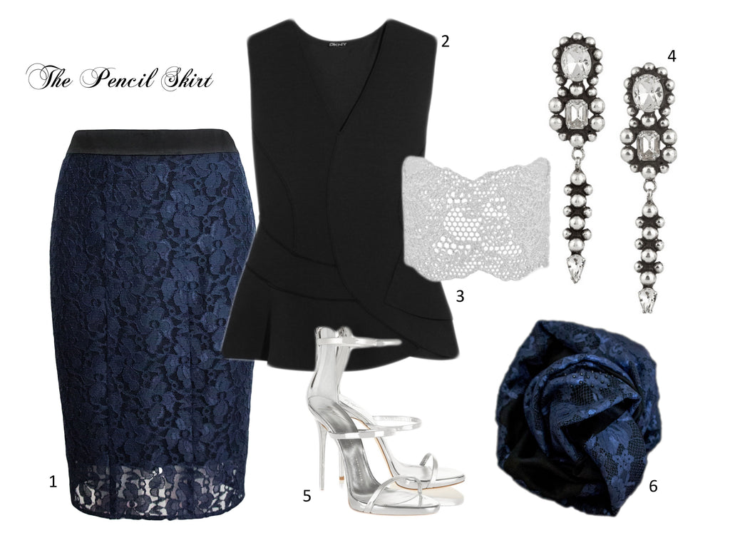 metallic lace pencil skirt pairing for office christmas party look