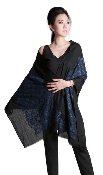 Adele black cashmere silk scarf with blue lace and pearl beading