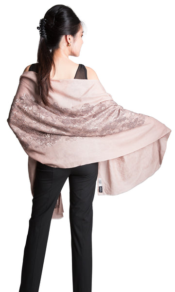 Anya lace cashmere silk scarf taupe pearl beading