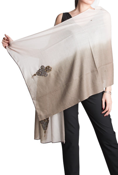 Olivia silk-wool two-tone scarf with beading in taupe