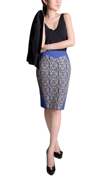 Alexa blue pencil skirt with gold embroidery - back