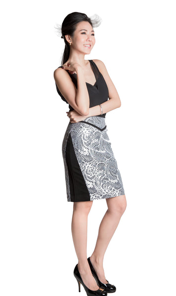 Grace black white bonded lace pencil skirt - side