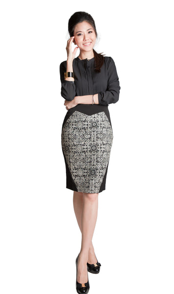 Leona black pencil skirt with gold embroidery - front