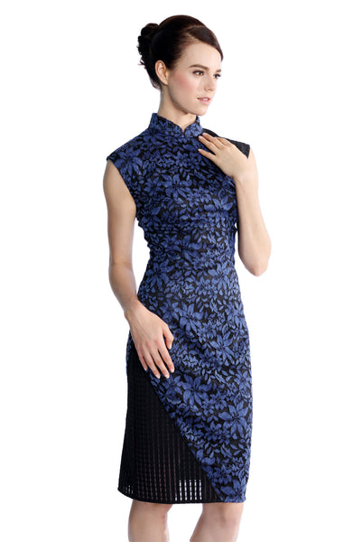 An Dark Denim Blue Lace-Panel Cheongsam