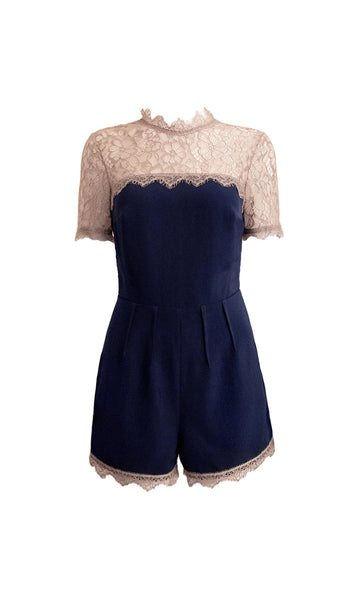Ellyn royal blue metallic lace romper - product shot