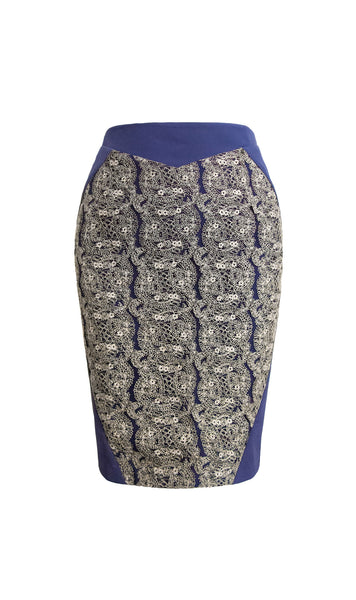 Alexa blue pencil skirt with gold embroidery - product