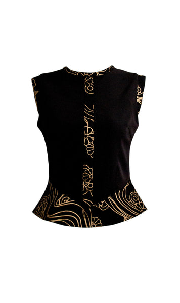 Charis black and gold peplum top - product shot