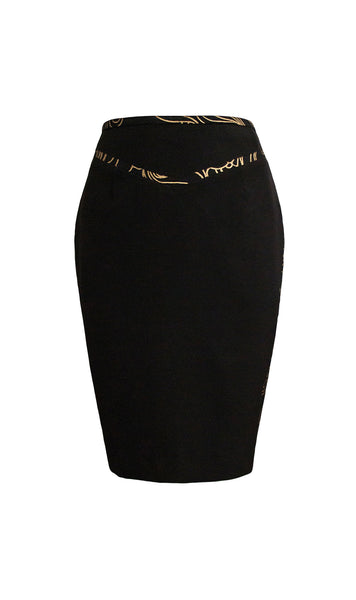 Charis black and gold pencil skirt - product shot