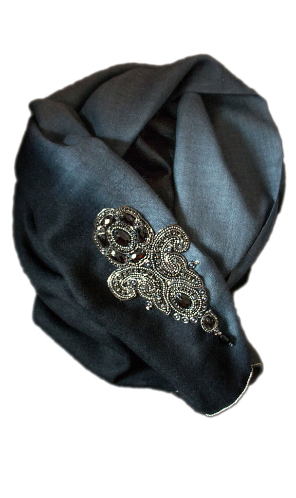 Sofia silk-wool two-tone scarf with beading