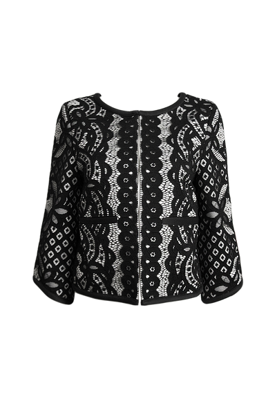 Jolie black and white cropped sleeve lace jacket