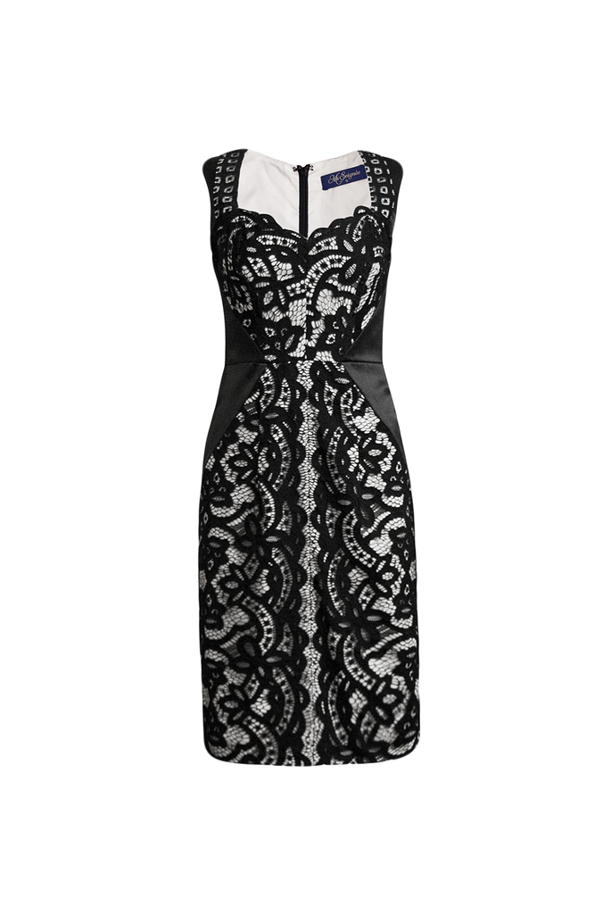 Lea black and white lace dress