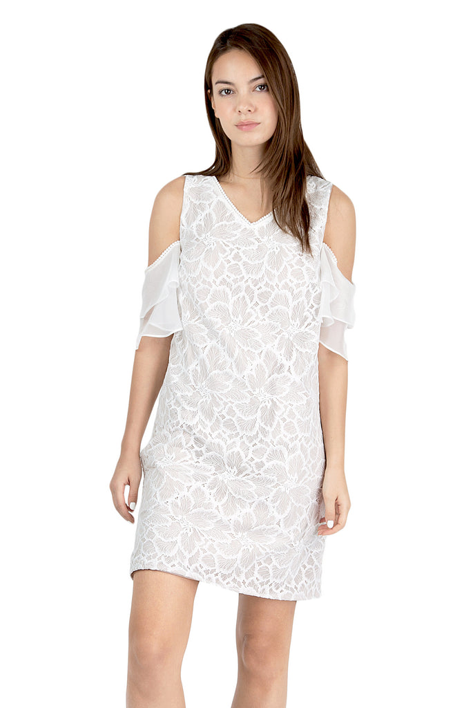 Anastasia off-shoulder ruffle lace dress