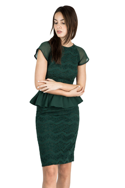 Jade peplum lace dress