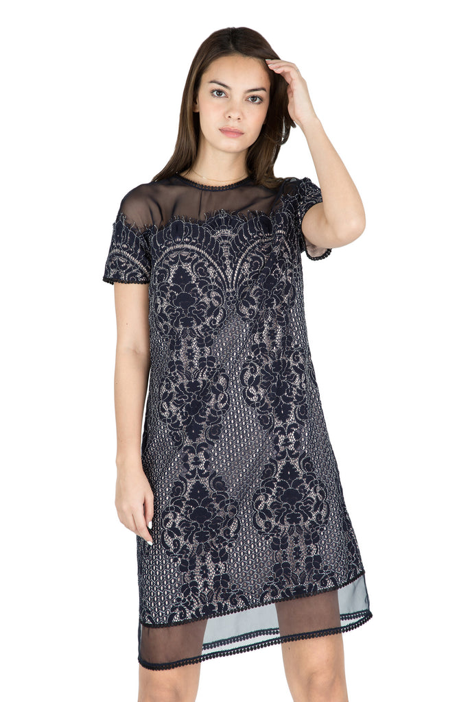 Mika sheer shoulder lace dress