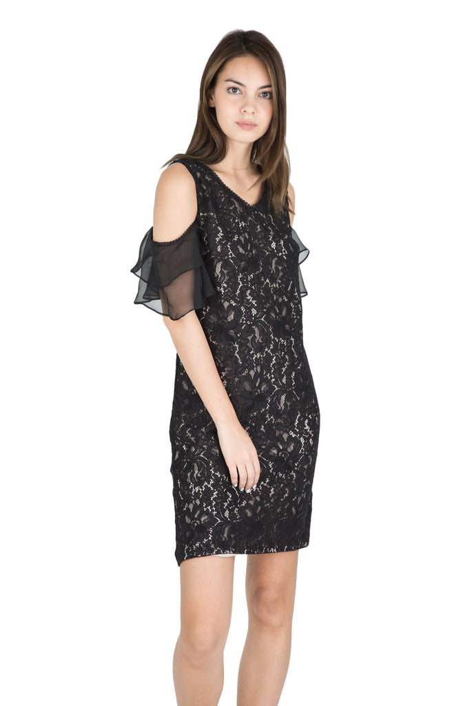 Chalayan off-shoulder ruffle lace dress