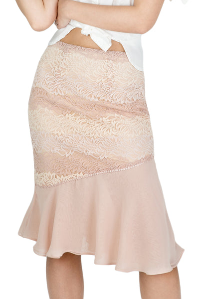 Hana asymmetrical ruffle lace skirt