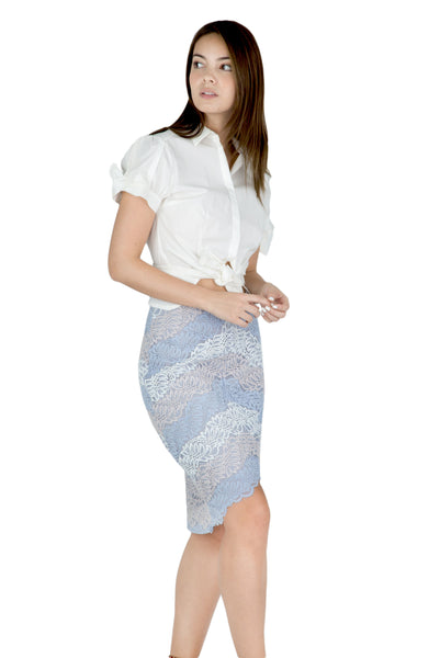 Risa high-low lace pencil skirt