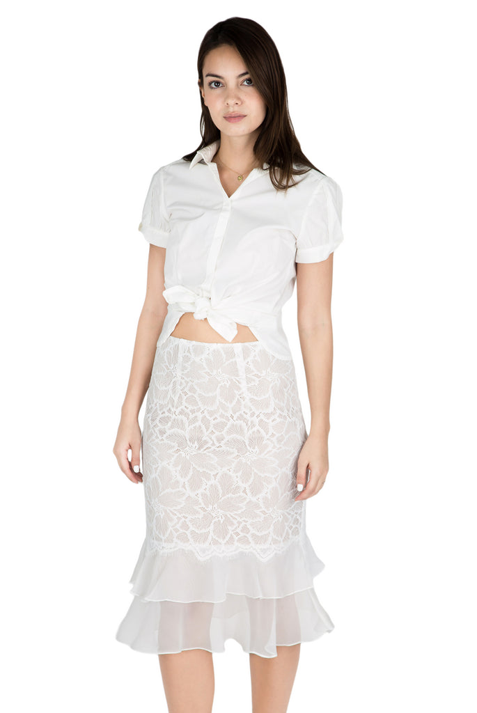 Calice sheer ruffle lace skirt