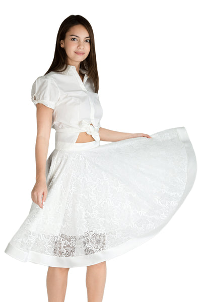 Marilyn lace flare skirt with pockets