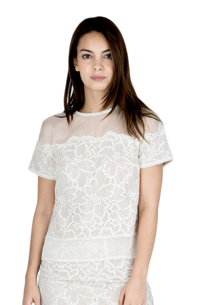 Calice sheer shoulder lace top