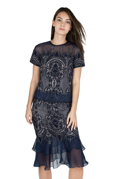 Ayanna sheer ruffle lace skirt