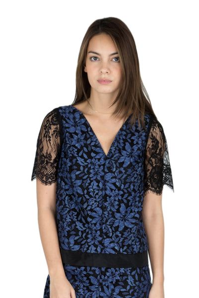 Akina contrast lace short sleeve top