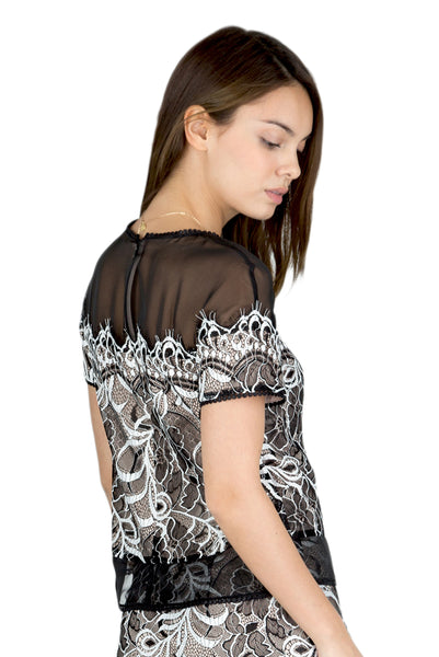 Kalin sheer shoulder lace top