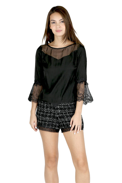 Heather silk panel lace sleeve top