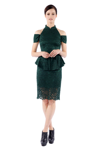 Xiang Emerald Off-shoulder Peplum Cheongsam
