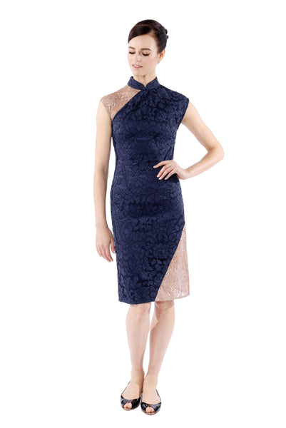 Xin Royal Blue Metallic Lace-Panel Cheongsam