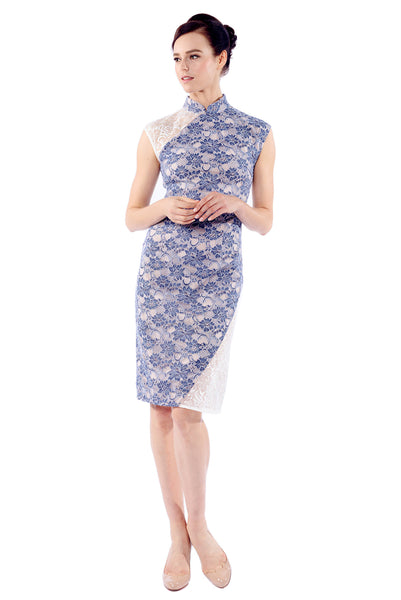 Yu Light Denim Blue Lace-Panel Cheongsam