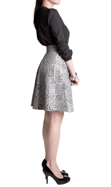 Arielle black white bonded lace flare skirt - work inspiration side