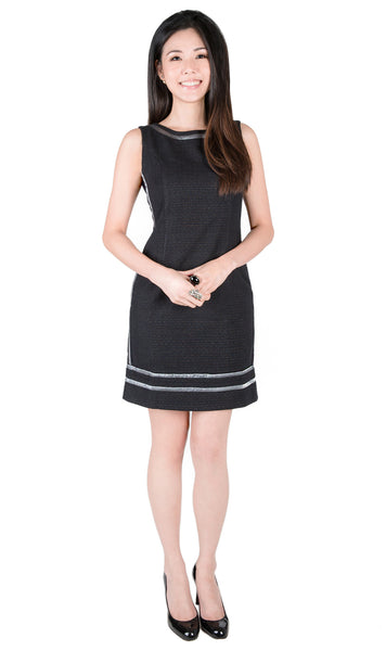Haley Japanese tweed black shiftdress - front