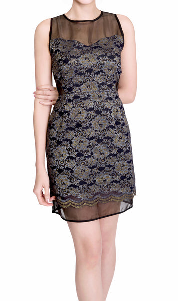 Faith Japanese lace organza mini dress - front