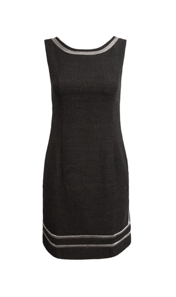 Haley Japanese tweed black shiftdress - product shot