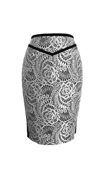 Grace black white bonded lace pencil skirt - product shot