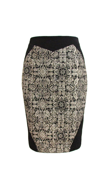 Leona black pencil skirt with gold embroidery - product