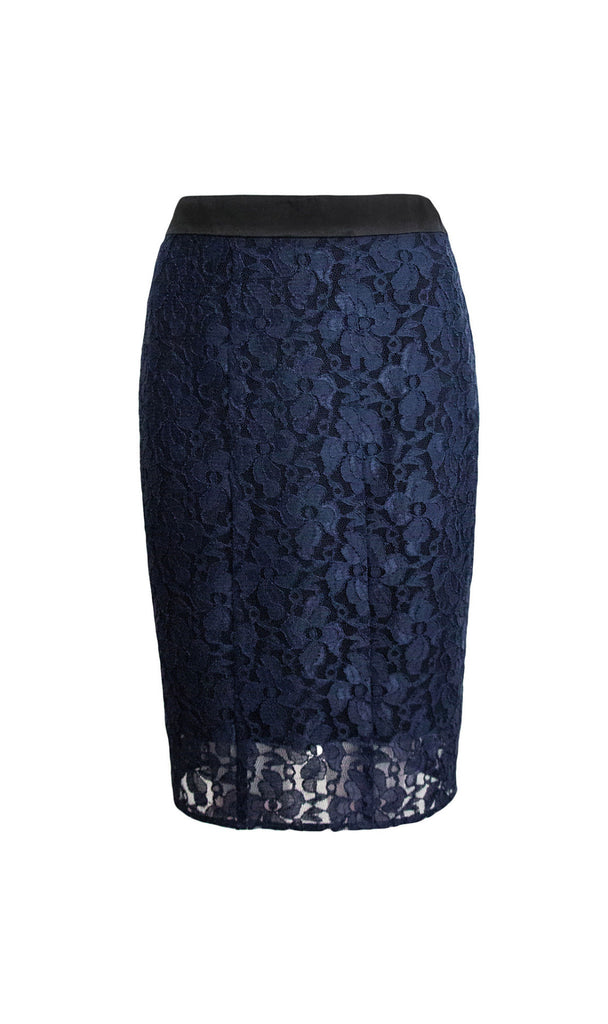 Sapphire Japanese lace in midnight blue pencil skirt - product shot