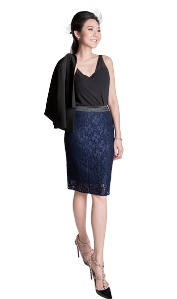 Sapphire Japanese lace in midnight blue pencil skirt - front
