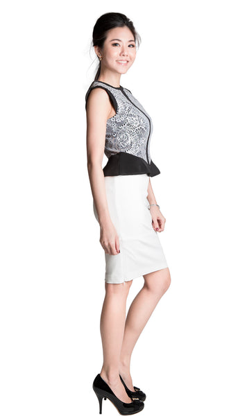 Grace black white bonded lace peplum blouse - product shot